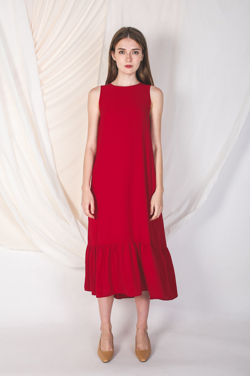 Ruffle Hem A-Line Dress In Red