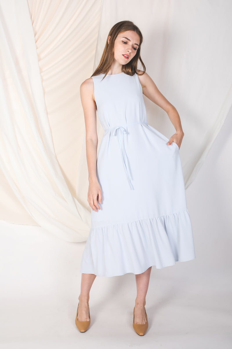 Ruffle Hem A-Line Dress In Powder Blue