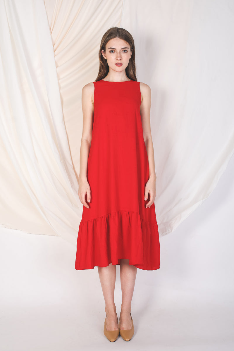 Ruffle Hem A-Line Dress In Red (Petite)