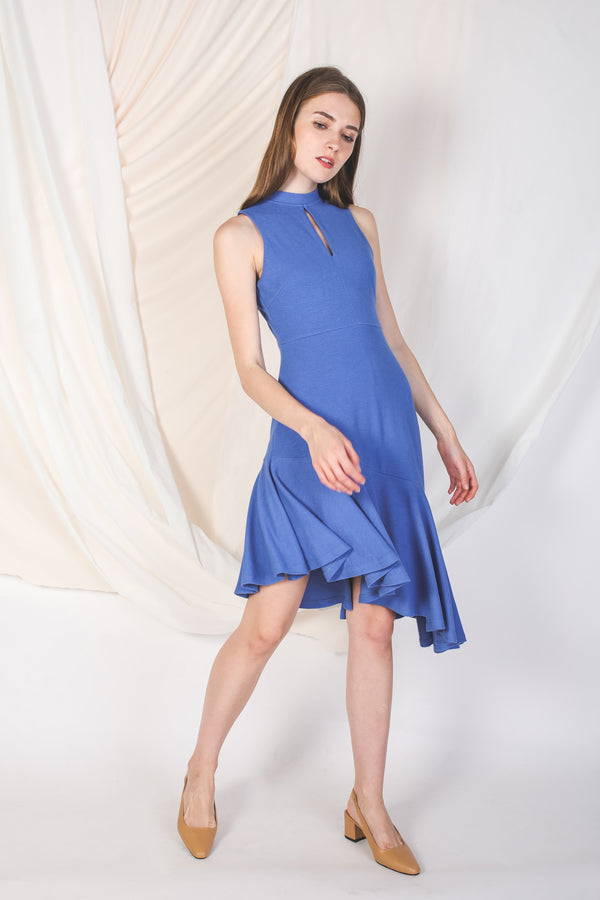 Asymmetrical Knit Dress In Blue