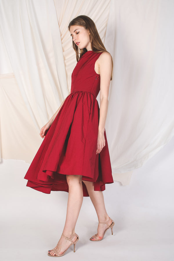 Asymmetrical Poufy Dress in Red