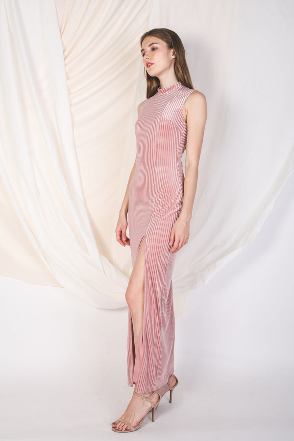 High Neck Velvet Maxi In Pink -Sale