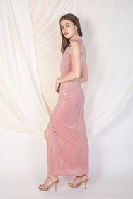 High Neck Velvet Maxi In Pink