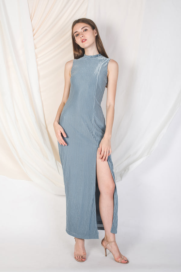 High Neck Velvet Maxi In Dusty Blue