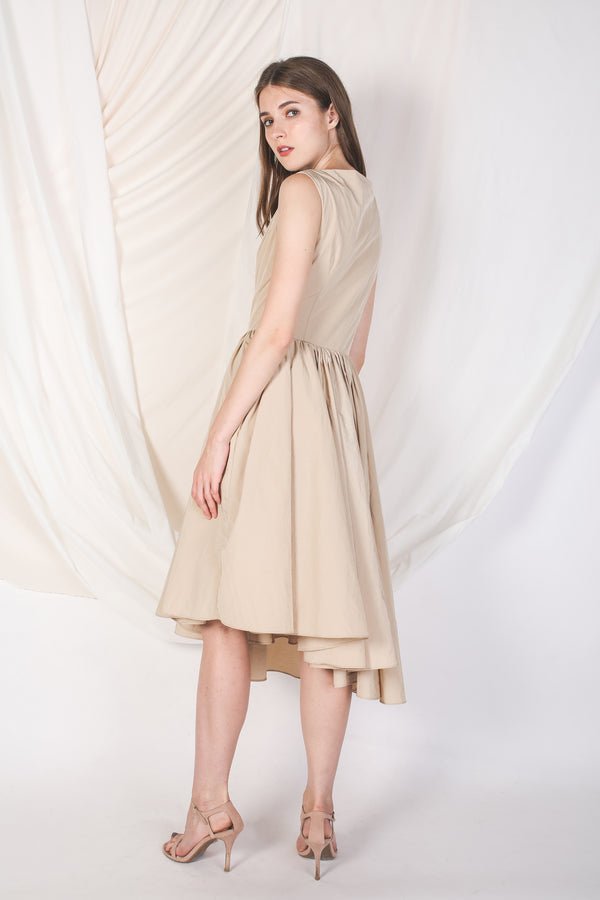 Asymmetrical Poufy Dress in Sand