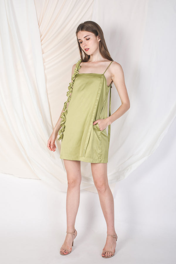 One-Shoulder Ruffle Slip Dress In Light Green -Sale