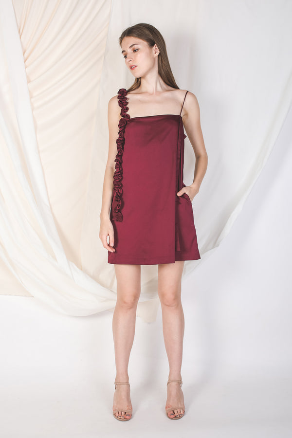 One-Shoulder Ruffle Slip Dress In Wine