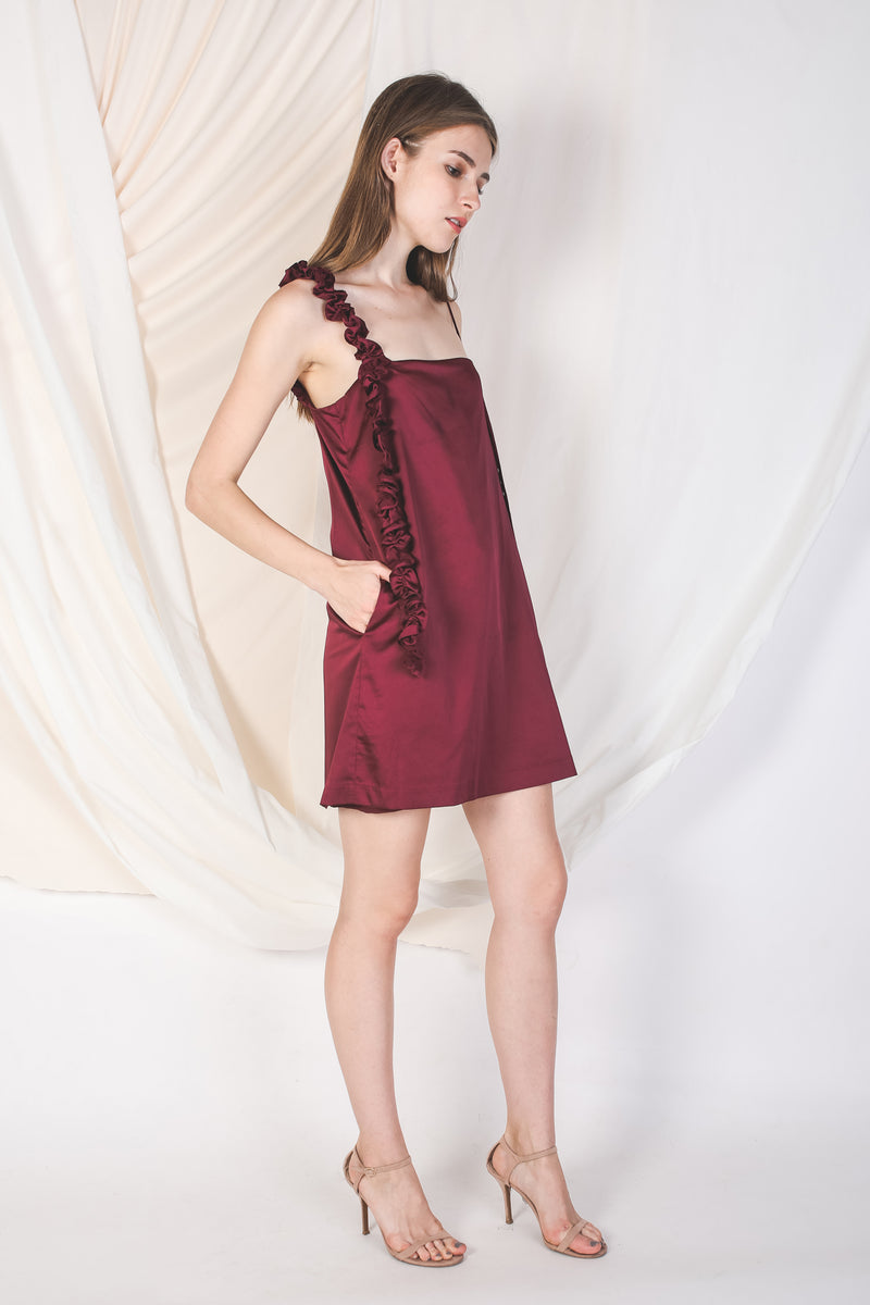One-Shoulder Ruffle Slip Dress In Wine -Sale