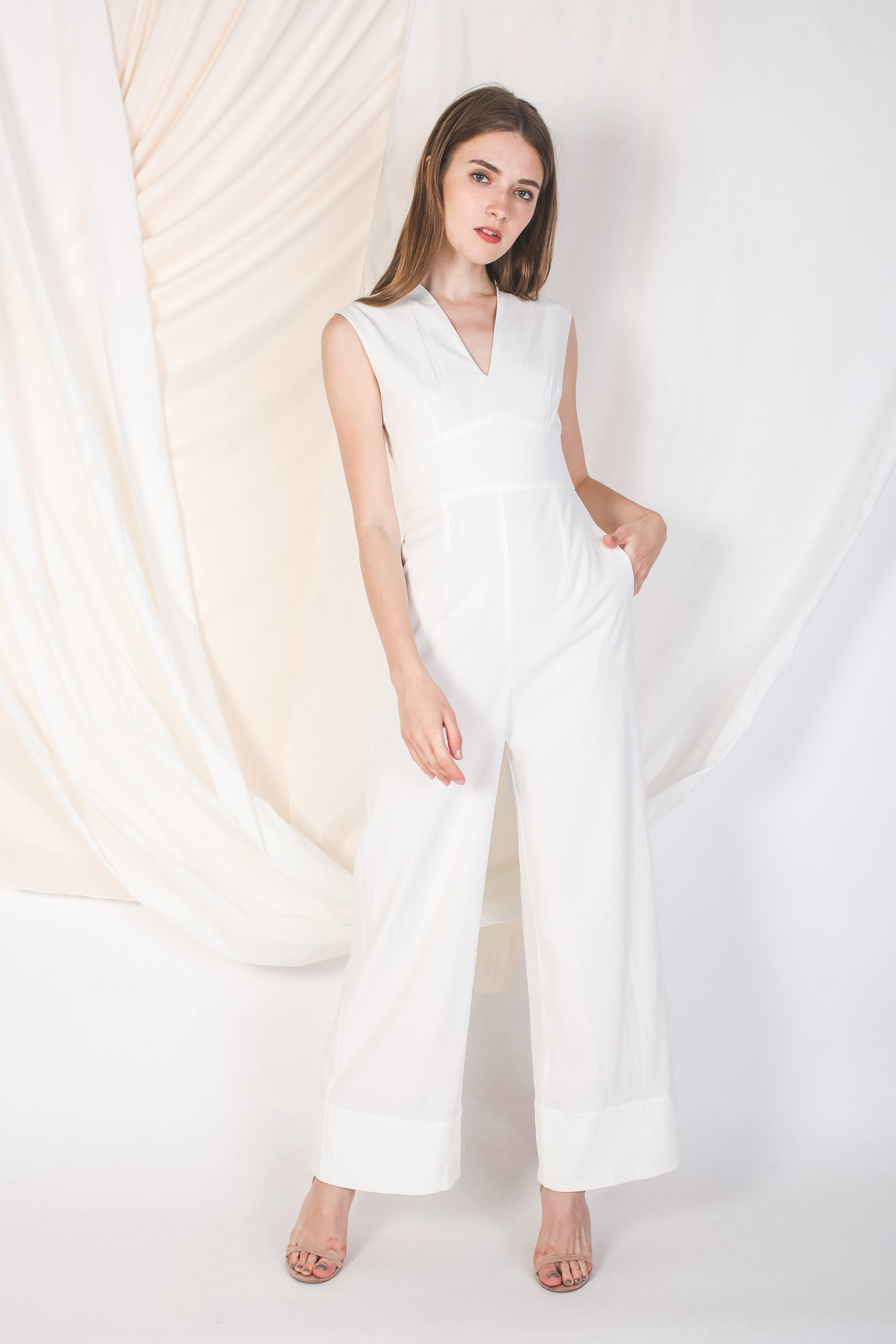 V Neck Linen Jumpsuit In White