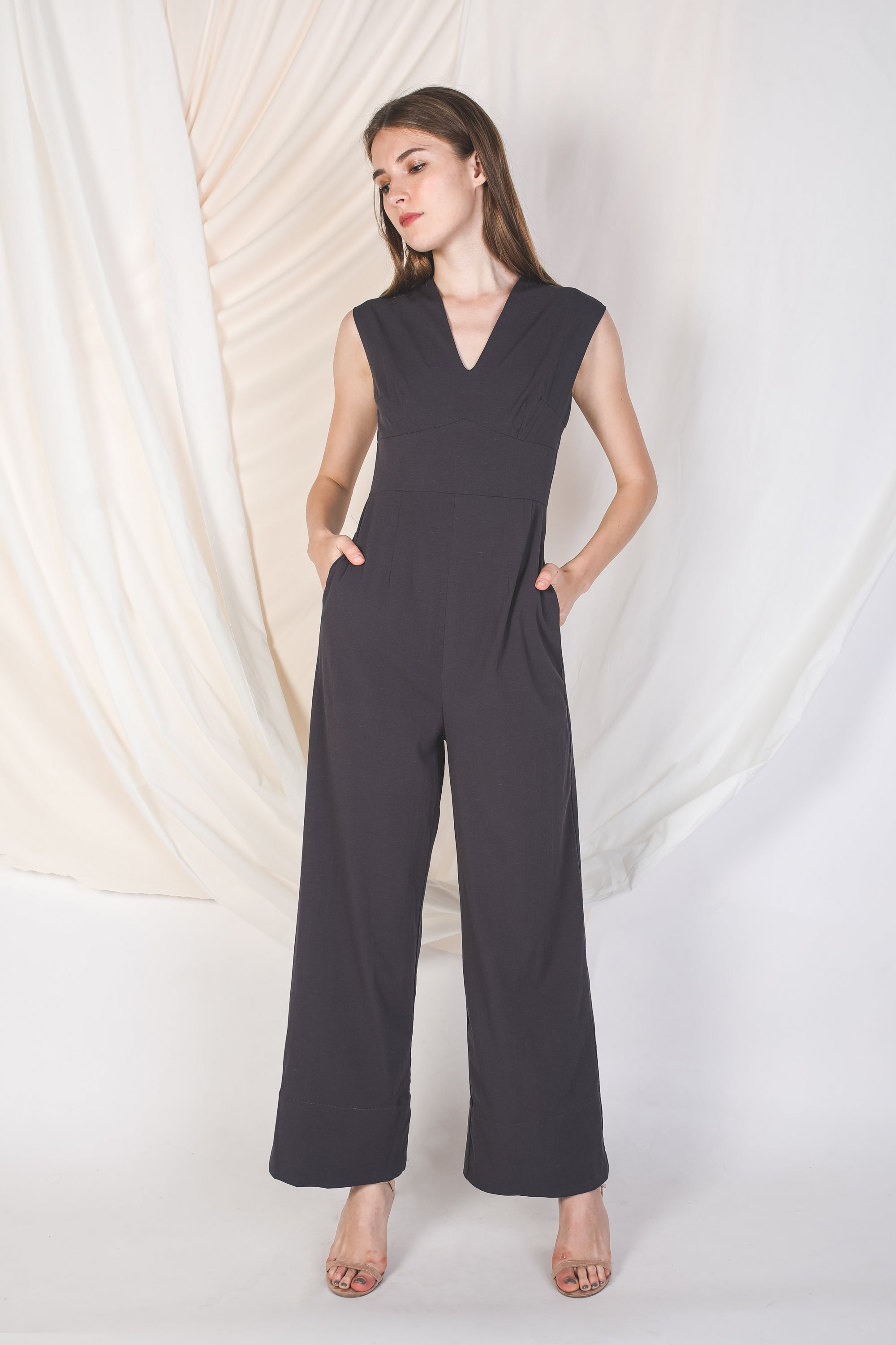 V Neck Linen Jumpsuit In Dark Grey