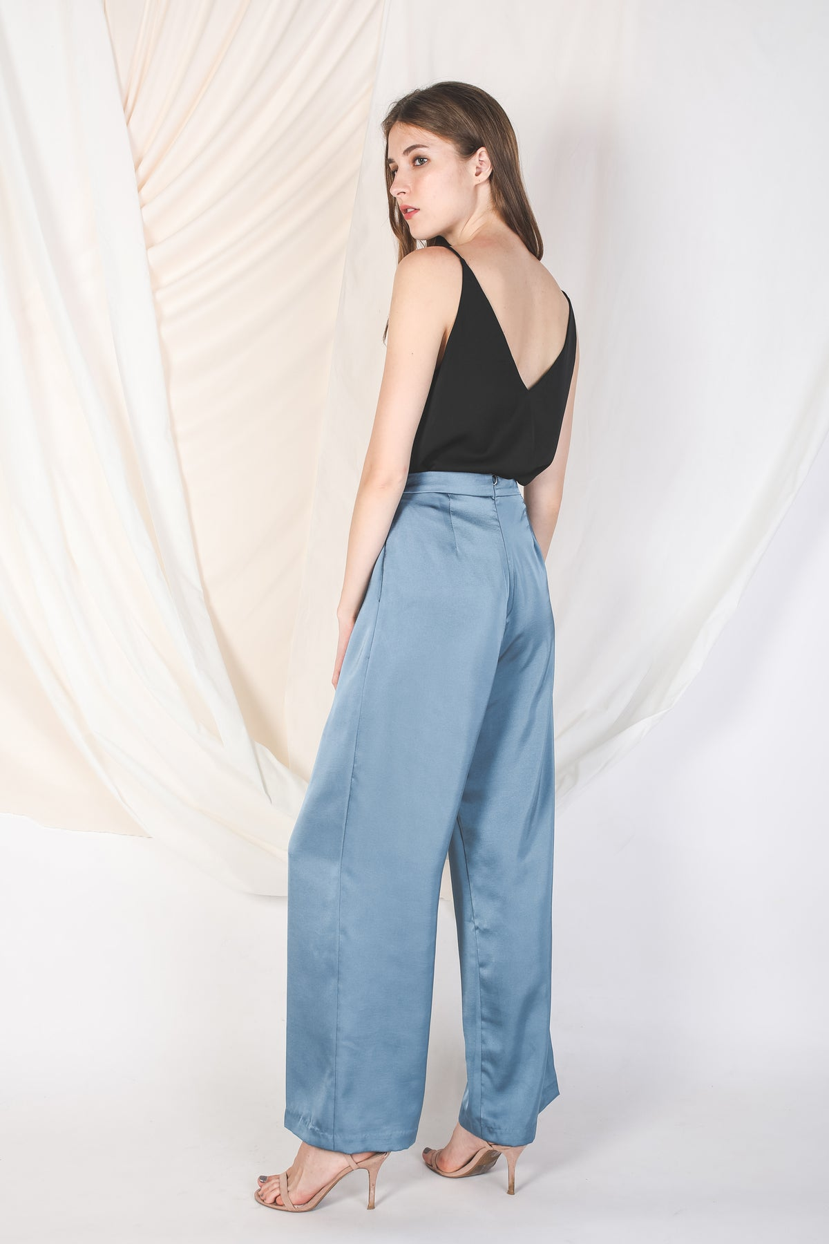 One-Panel Satin Trousers In Blue