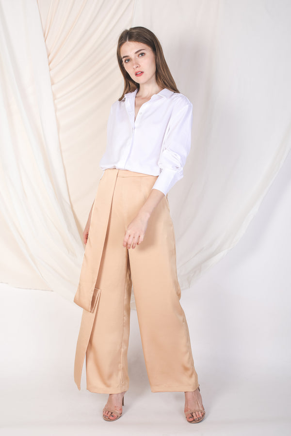 One-Panel Satin Trousers In Gold