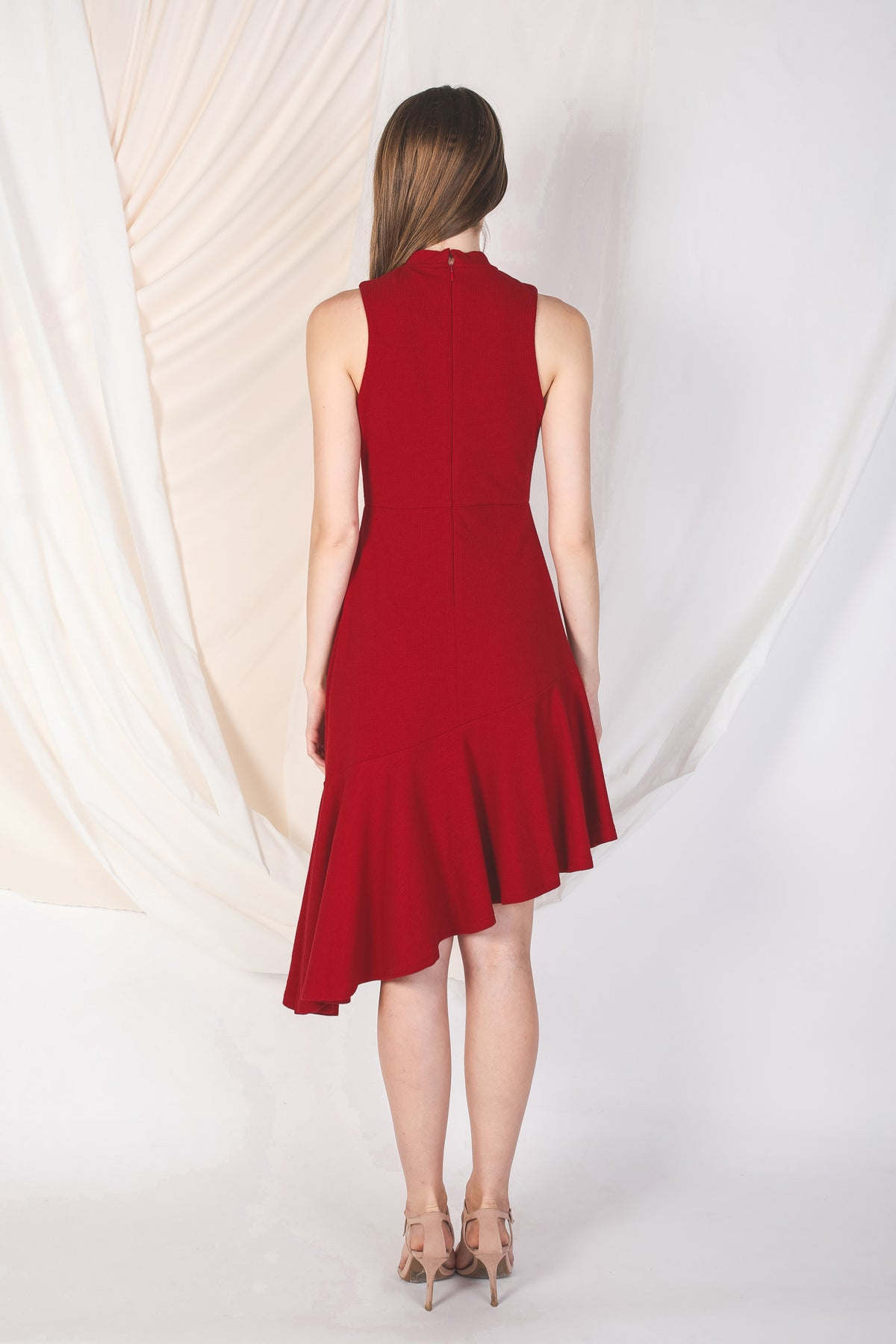 Asymmetrical Knit Dress In Red