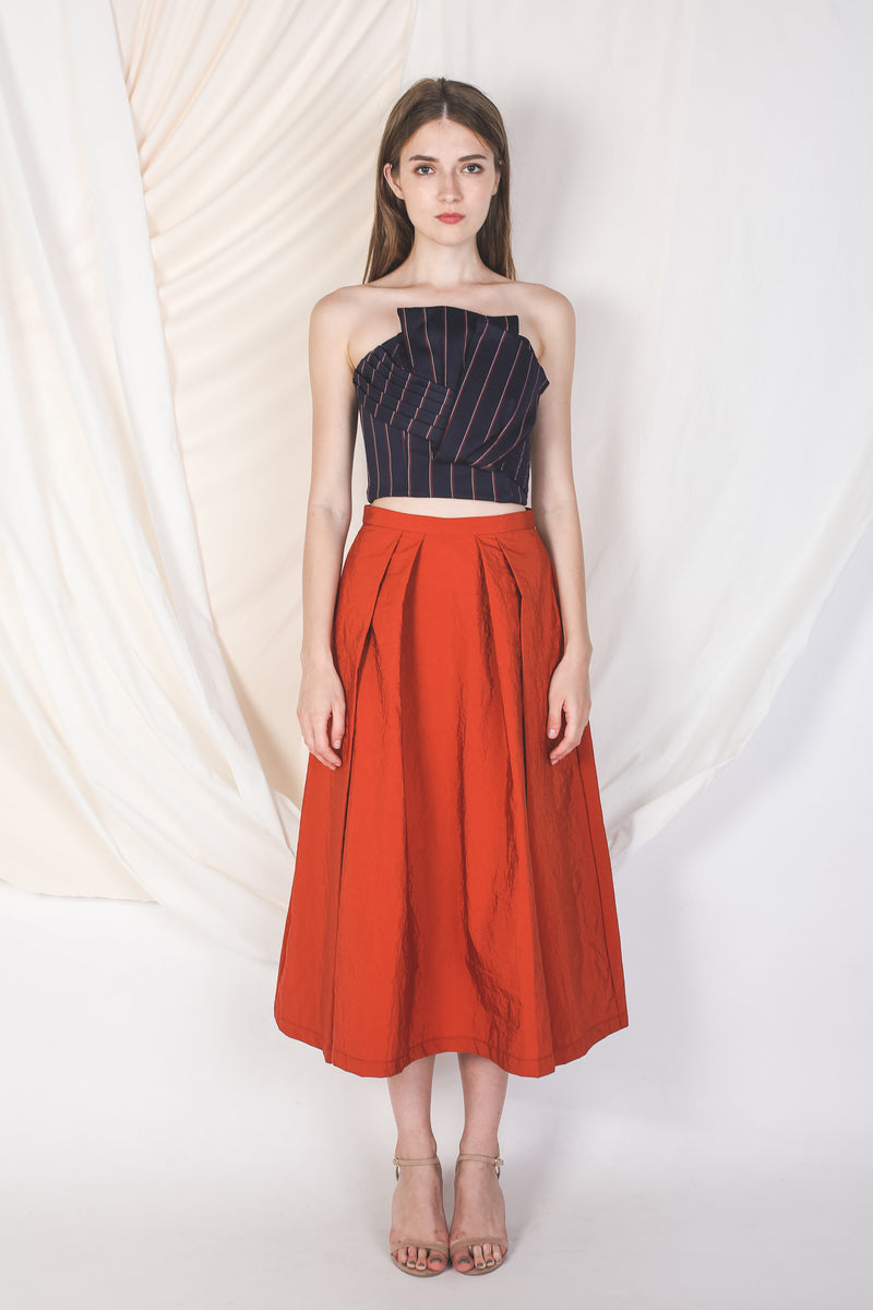 Double Pleated Midi Skirt In Warm Orange