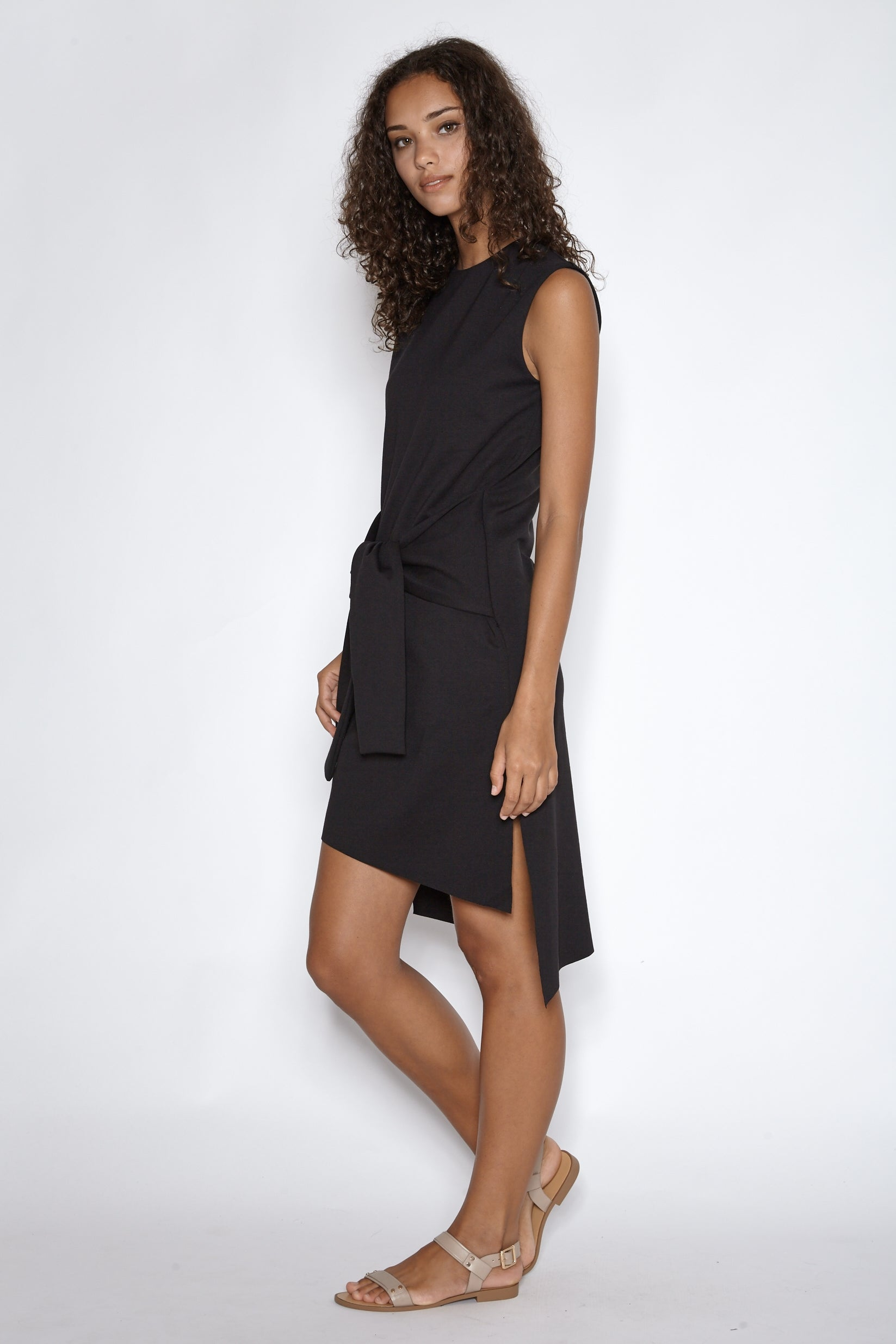 Asymmetrical Midi Dress with Tie Front