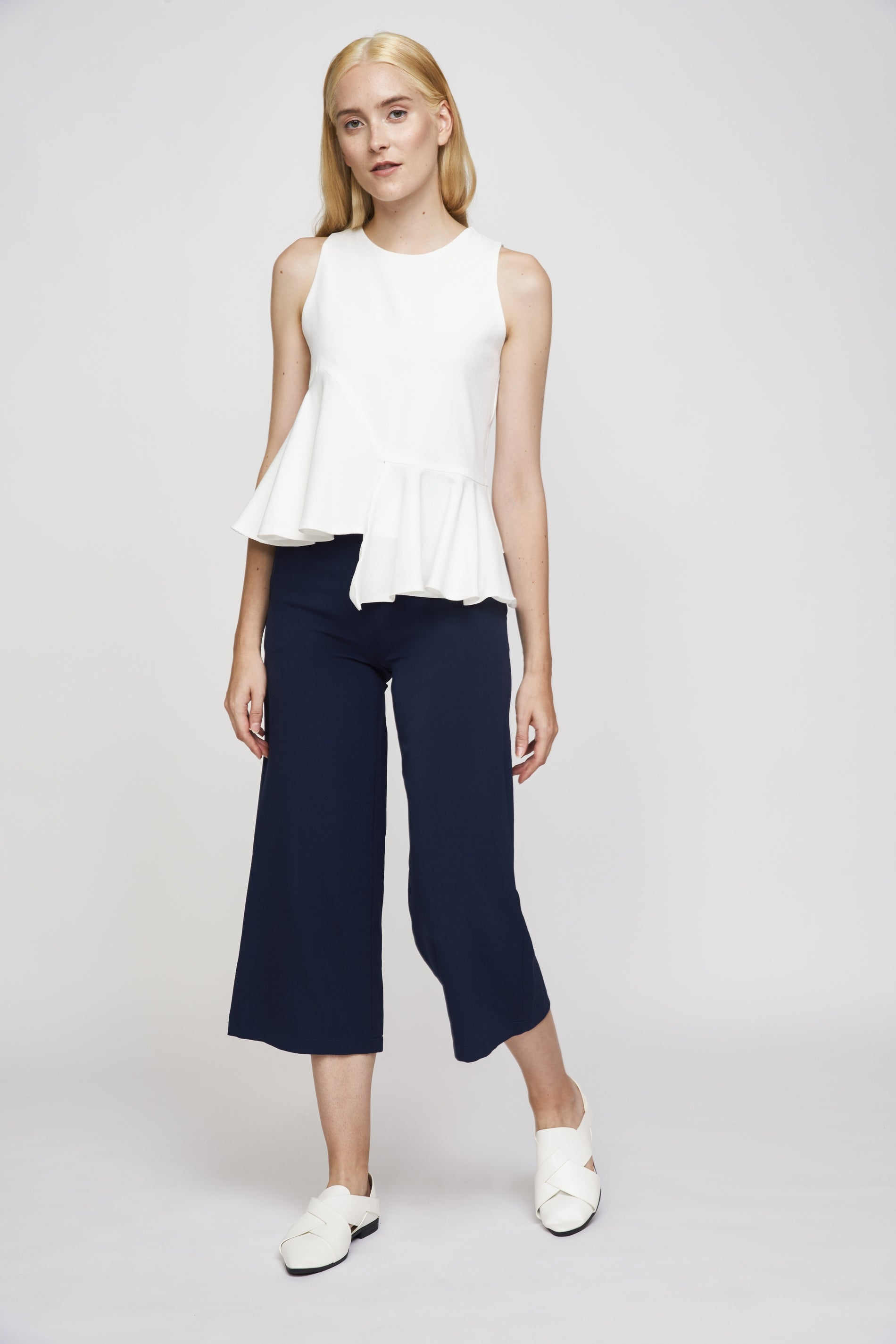 Asymmetric Flare Top in White