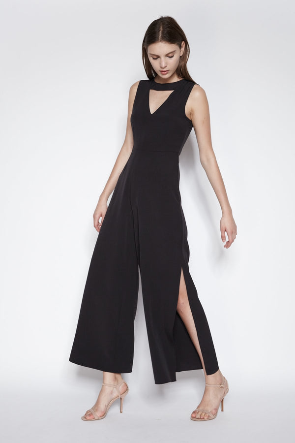 Side Slit Jumpsuit In Black (Sale)