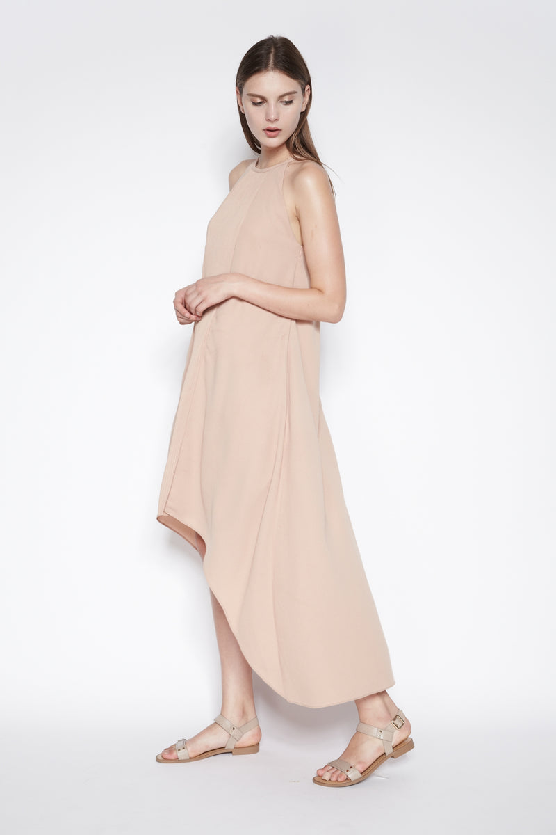 Asymmetrical Pleated Maxi Dress