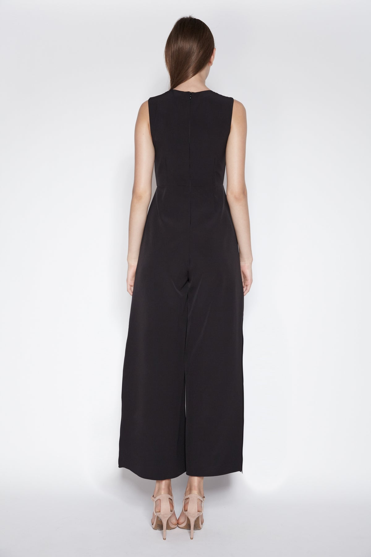 Side Slit Jumpsuit In Black