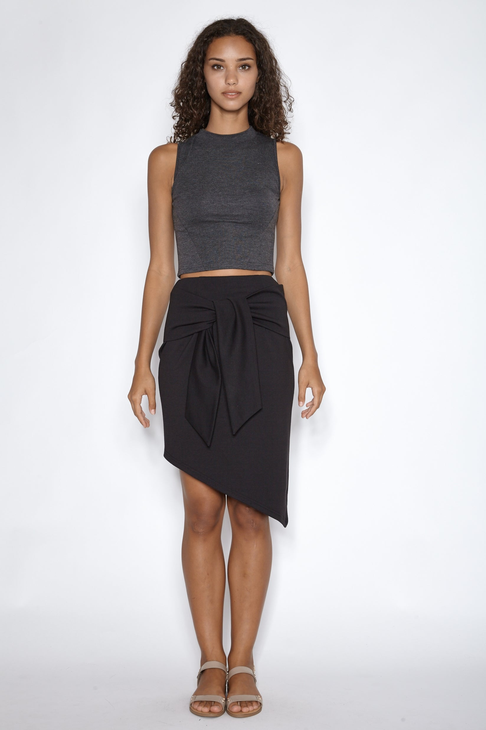 Asymmetrical Tie-knot Skirt in Black