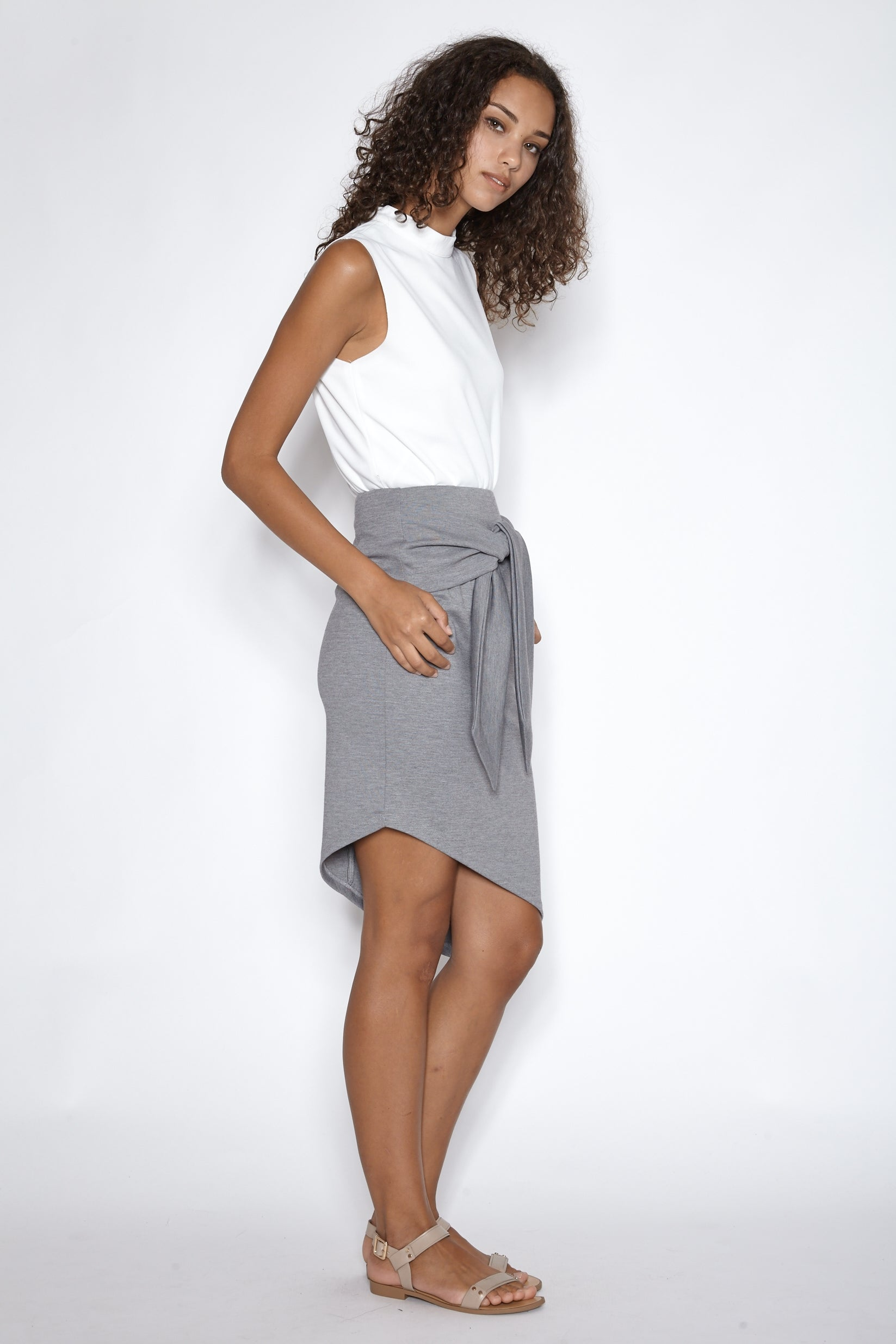 Asymmetrical Tie-knot Skirt in Grey