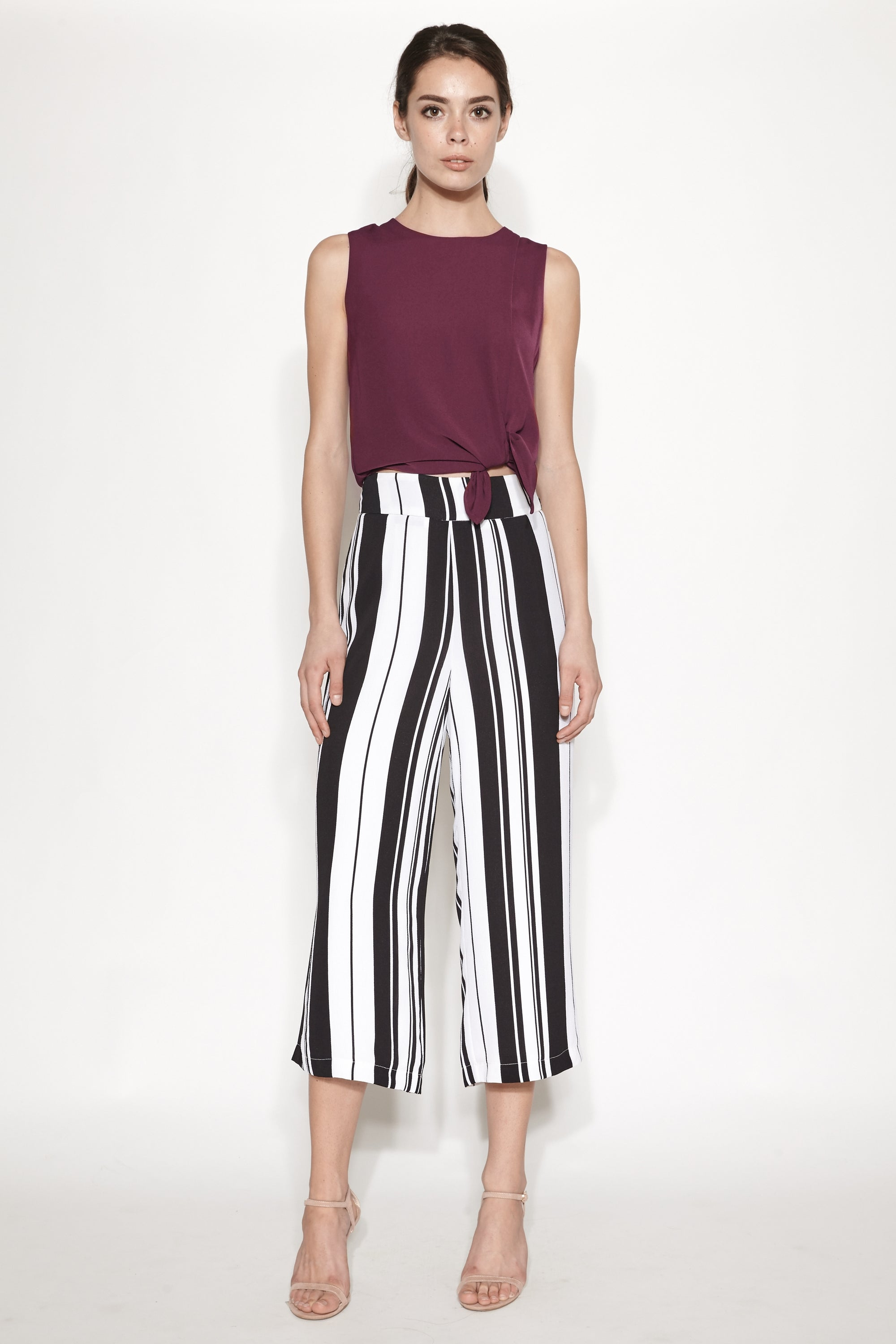 Asymmetrical Top with Slit in Maroon