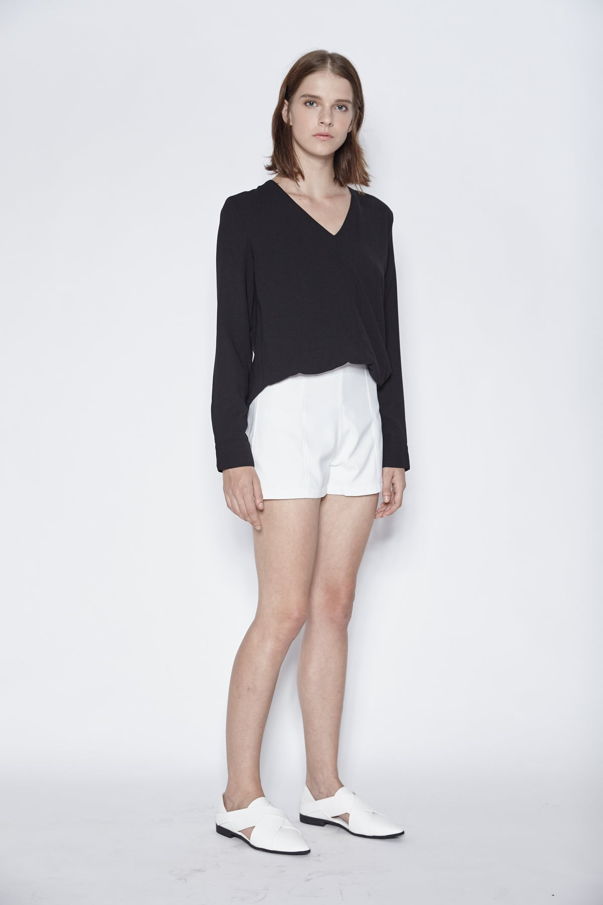 Tailored Panel Shorts In White