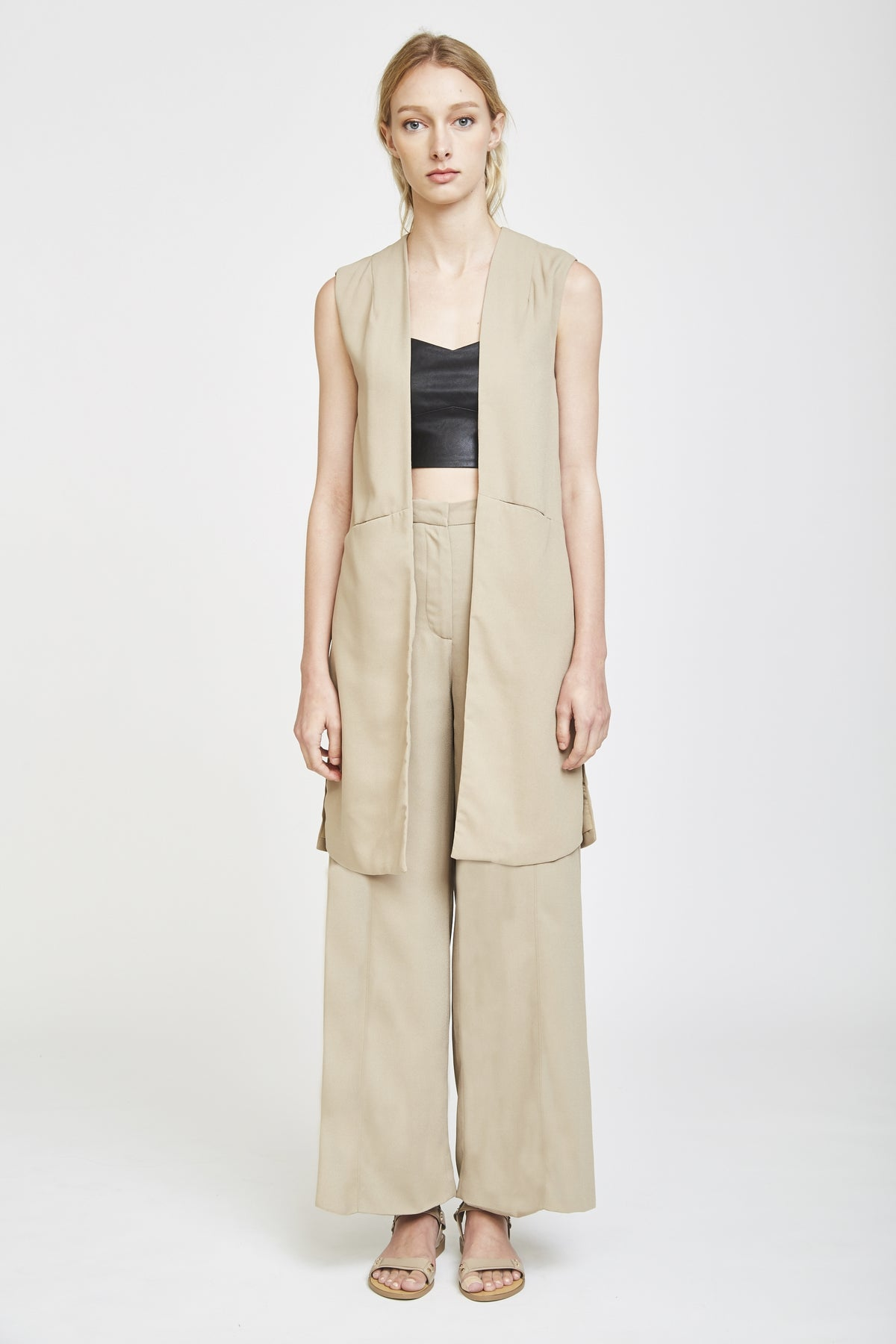 Tailored Vest In Hay