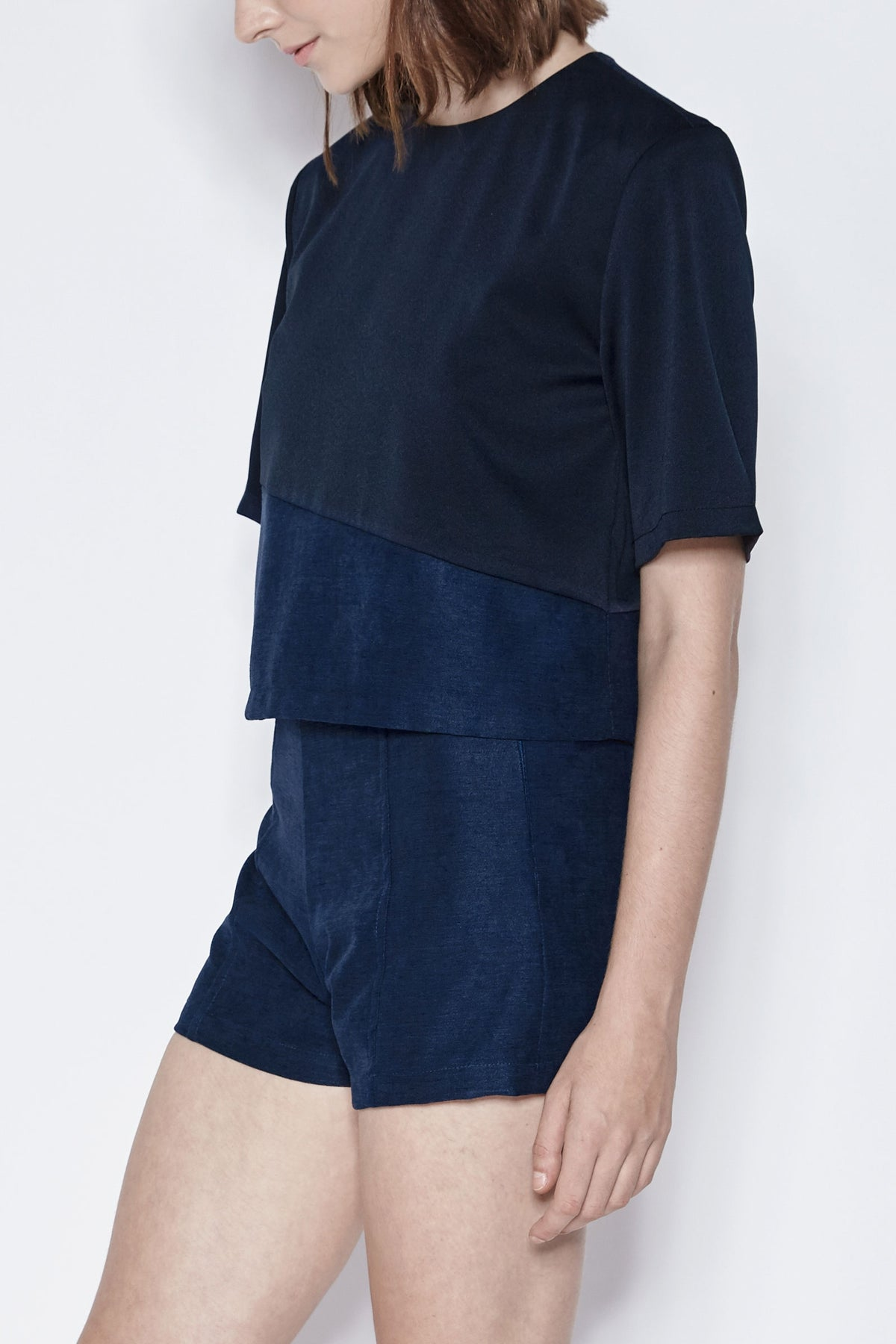Suede Insert Top In Navy