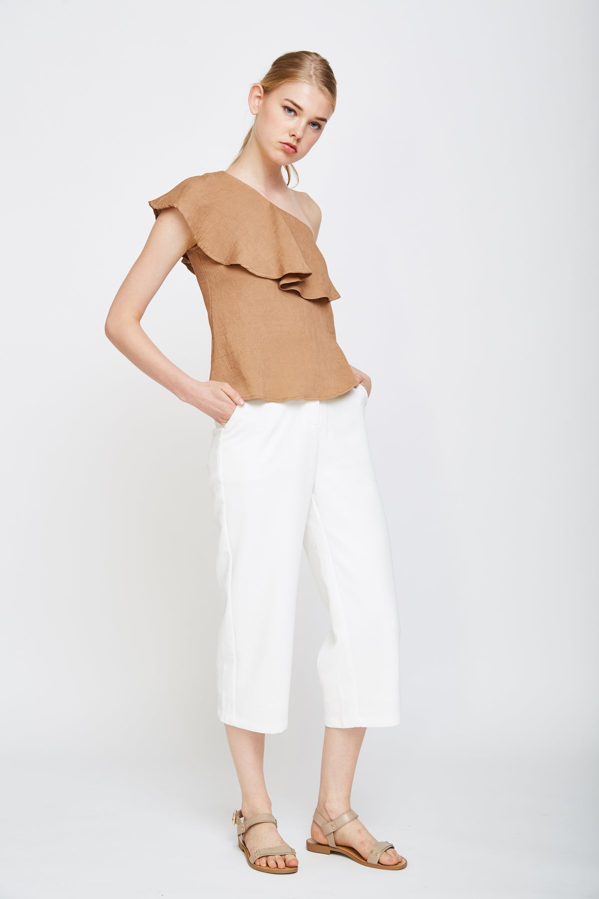Ruffle Toga Top In Camel