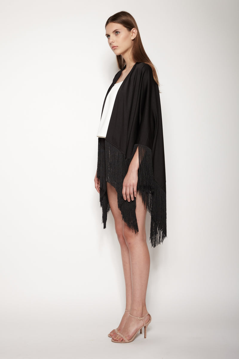 Fringe Cape In Black
