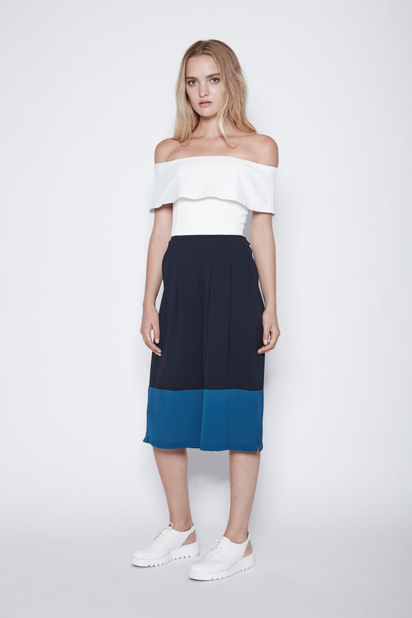 Two-tone Culottes In Navy And Blue