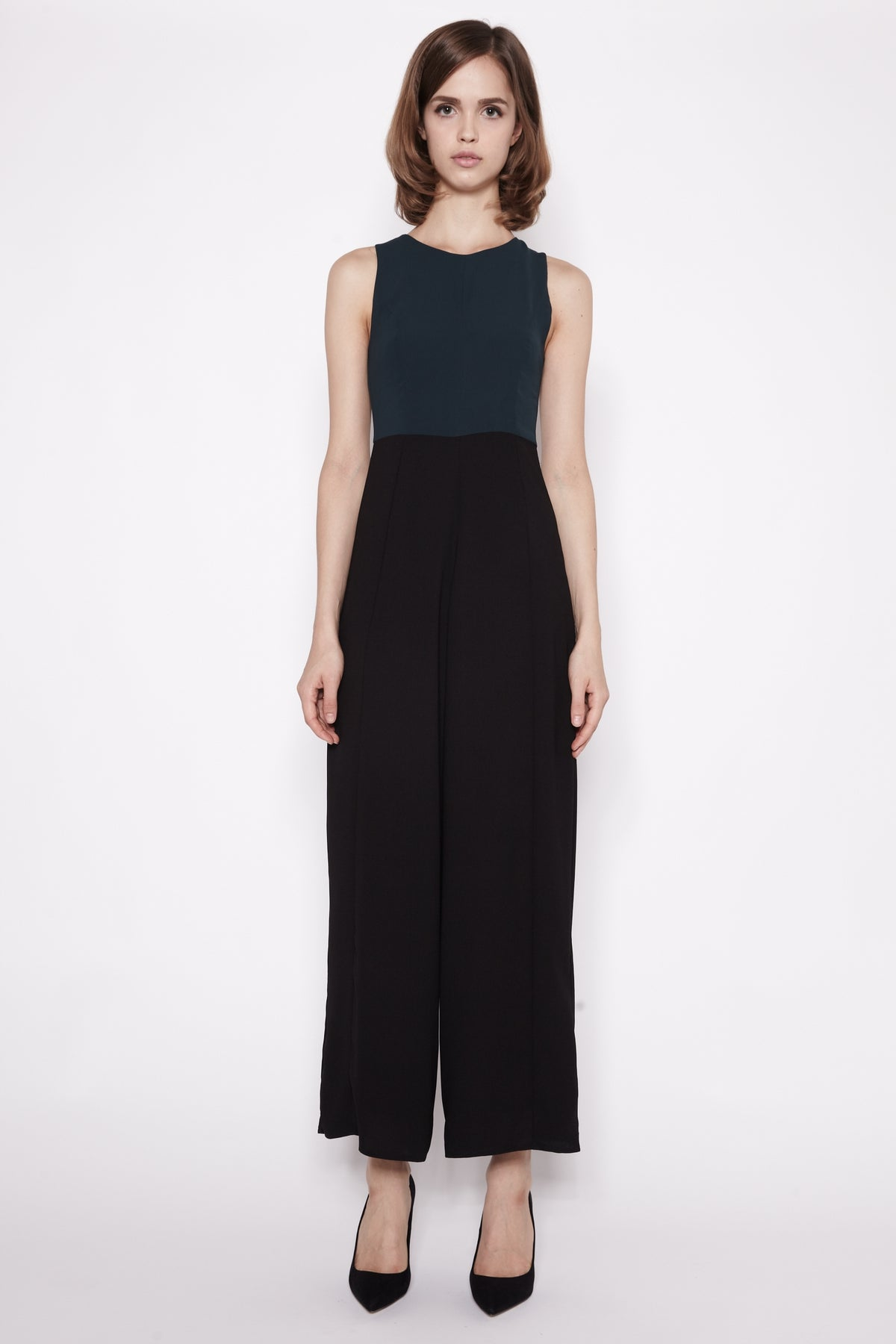 Two-Tone Jumpsuit In Emerald and Black