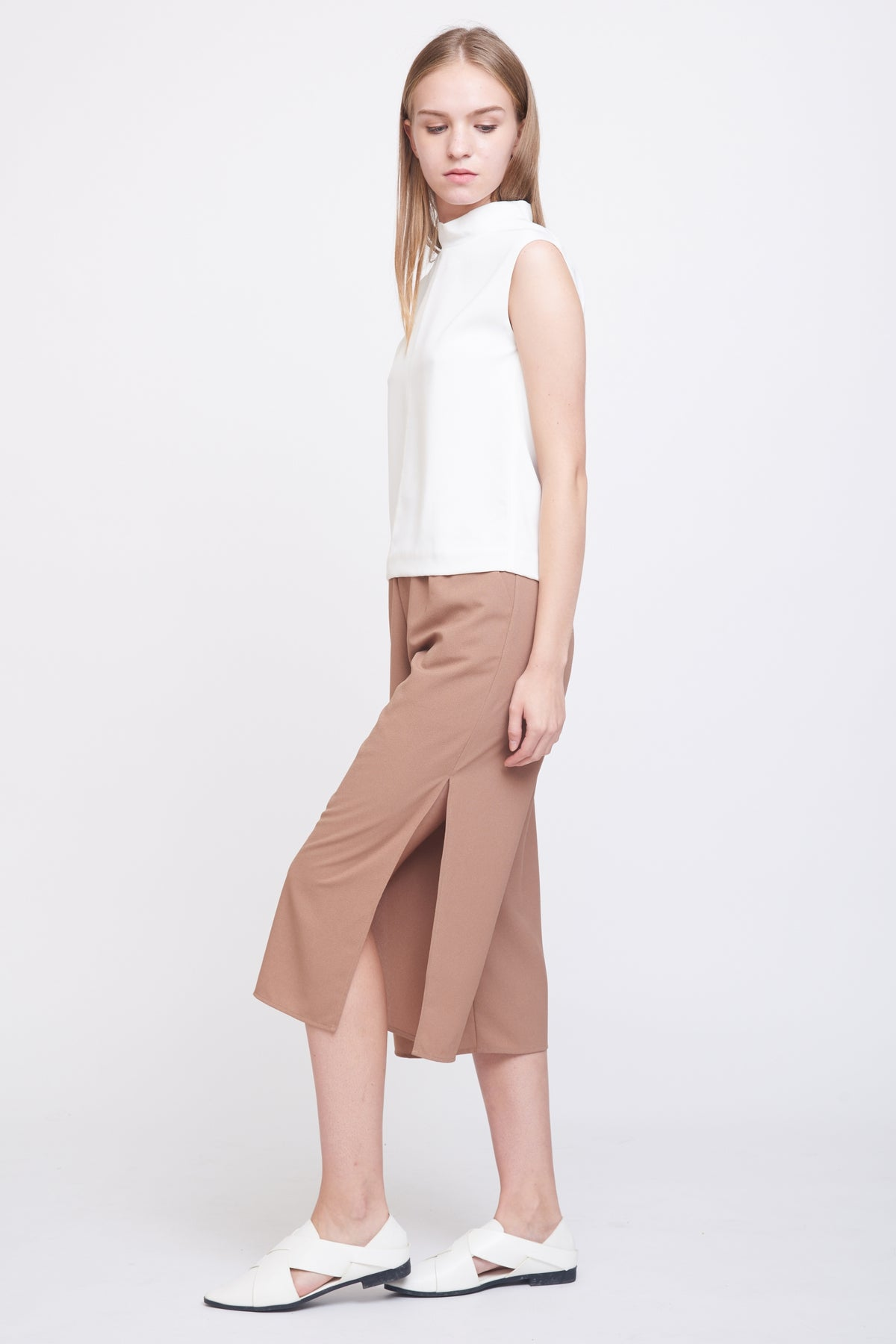 Side Slit Culottes In Camel