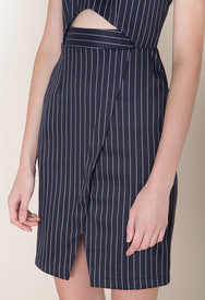 Cutout Tailored Dress In Pinstripe