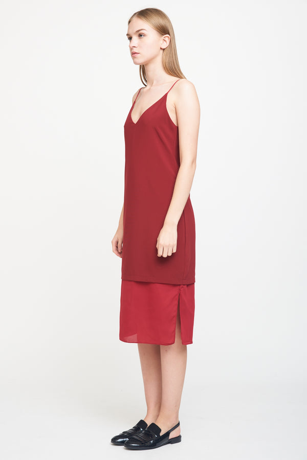 Layered Slip Dress In Red