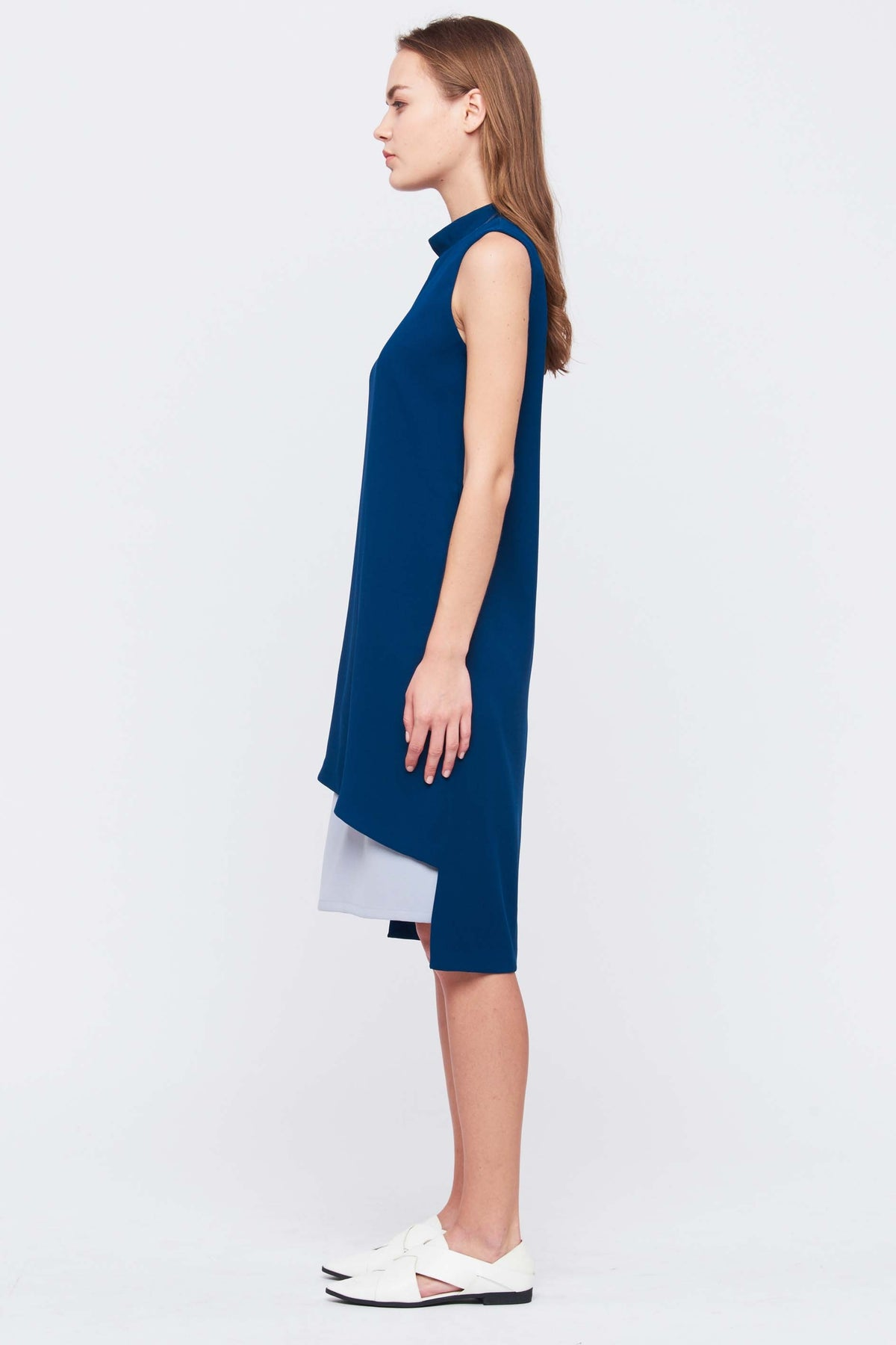 Detachable Panel Dress In Teal
