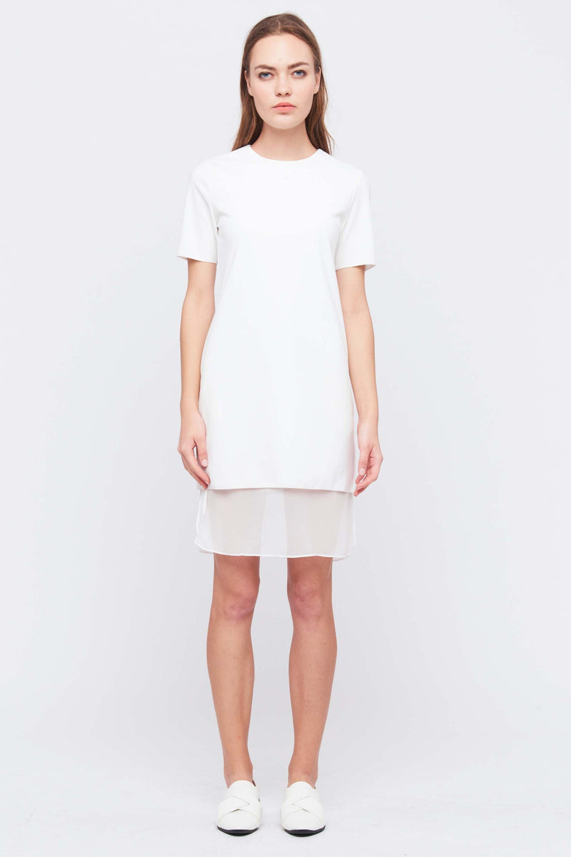 Layered Shift Dress In White