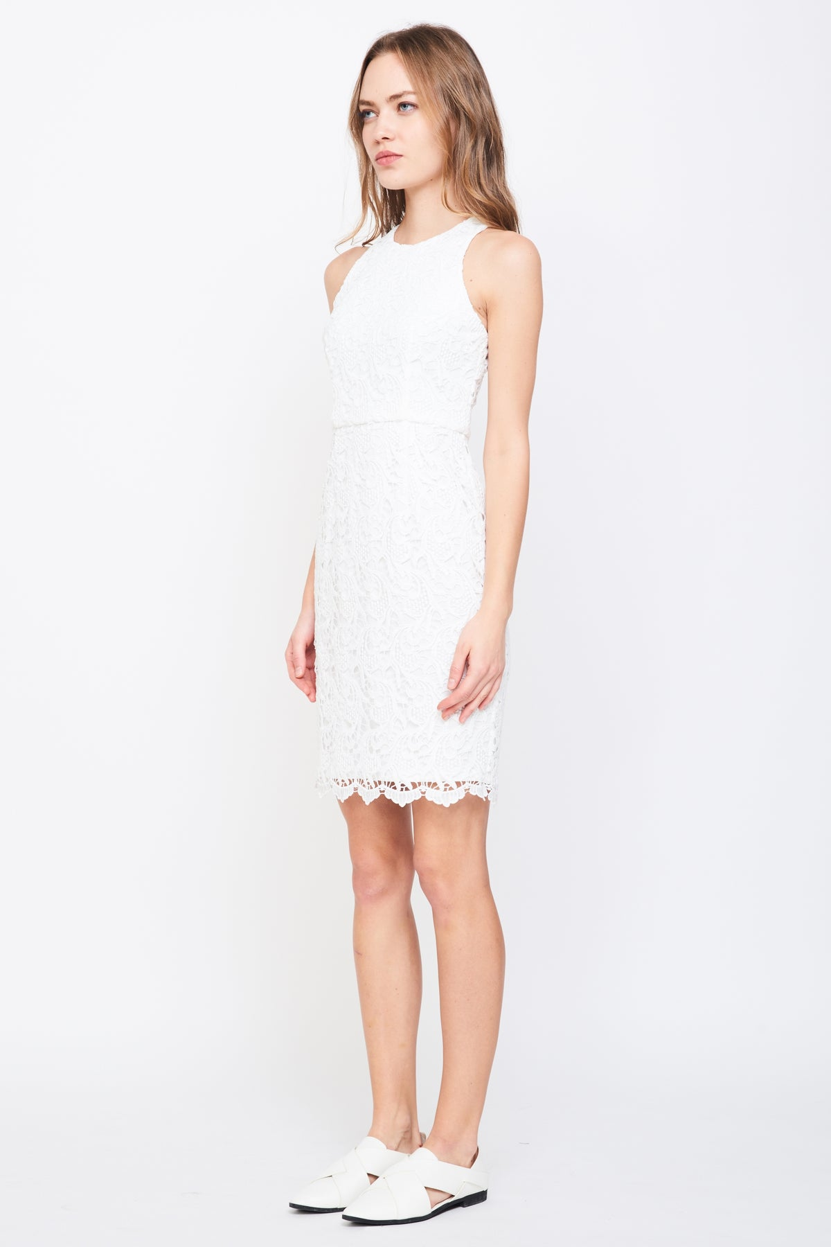 Racer Front Lace Dress In White
