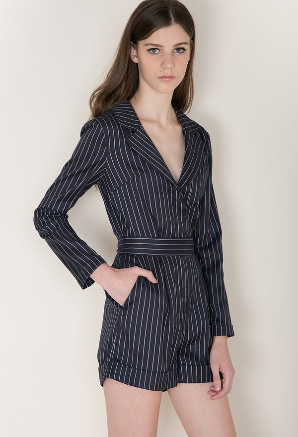 Executive Romper In Pinstripe