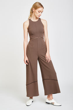 Eyelet Jumpsuit In Brown