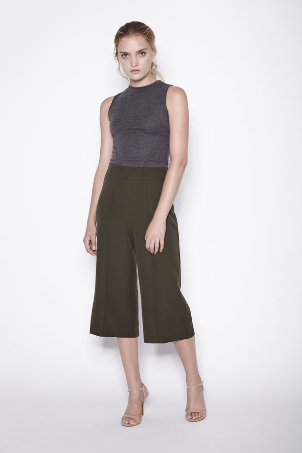 Structured Culottes In Olive