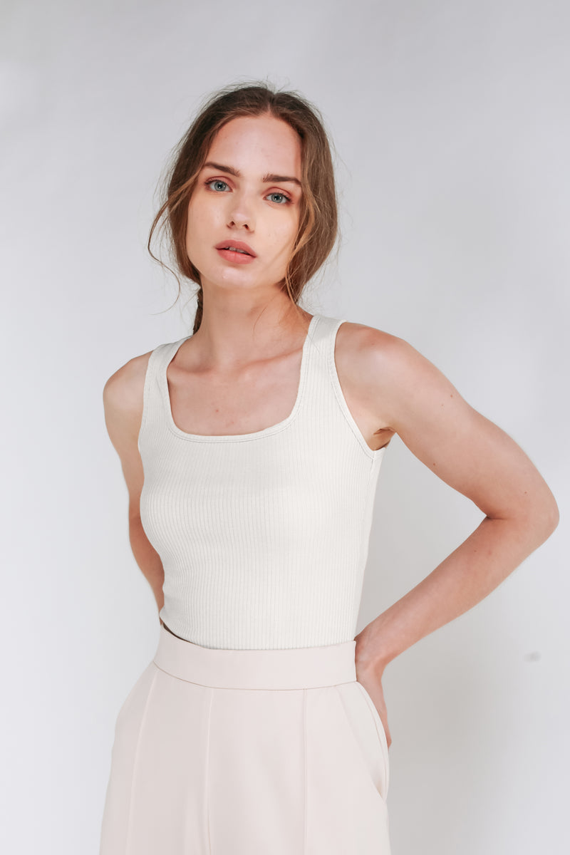 Square Neck Tank Top In Off White