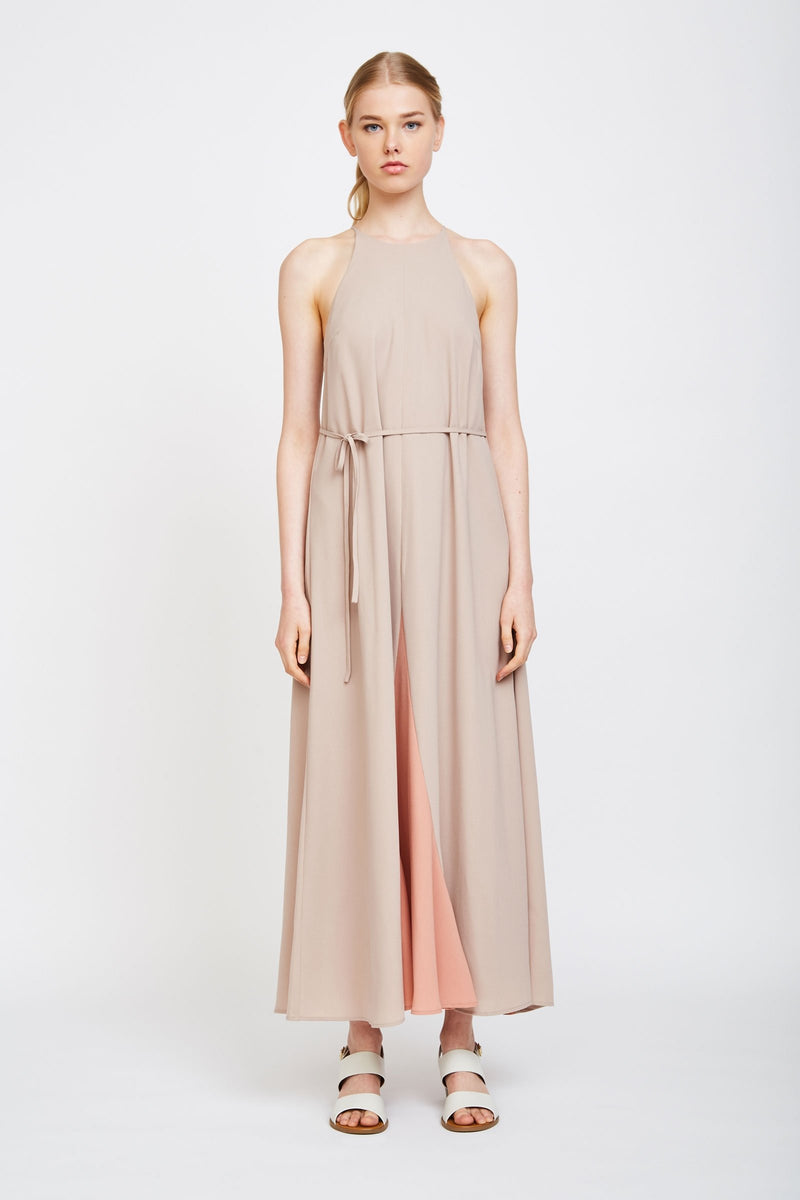 Two-tone Halter Maxi Dress In Nude And Blush