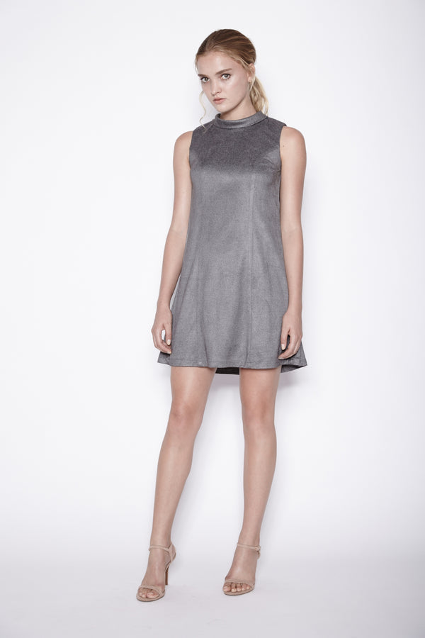 High Neck Dress In Grey