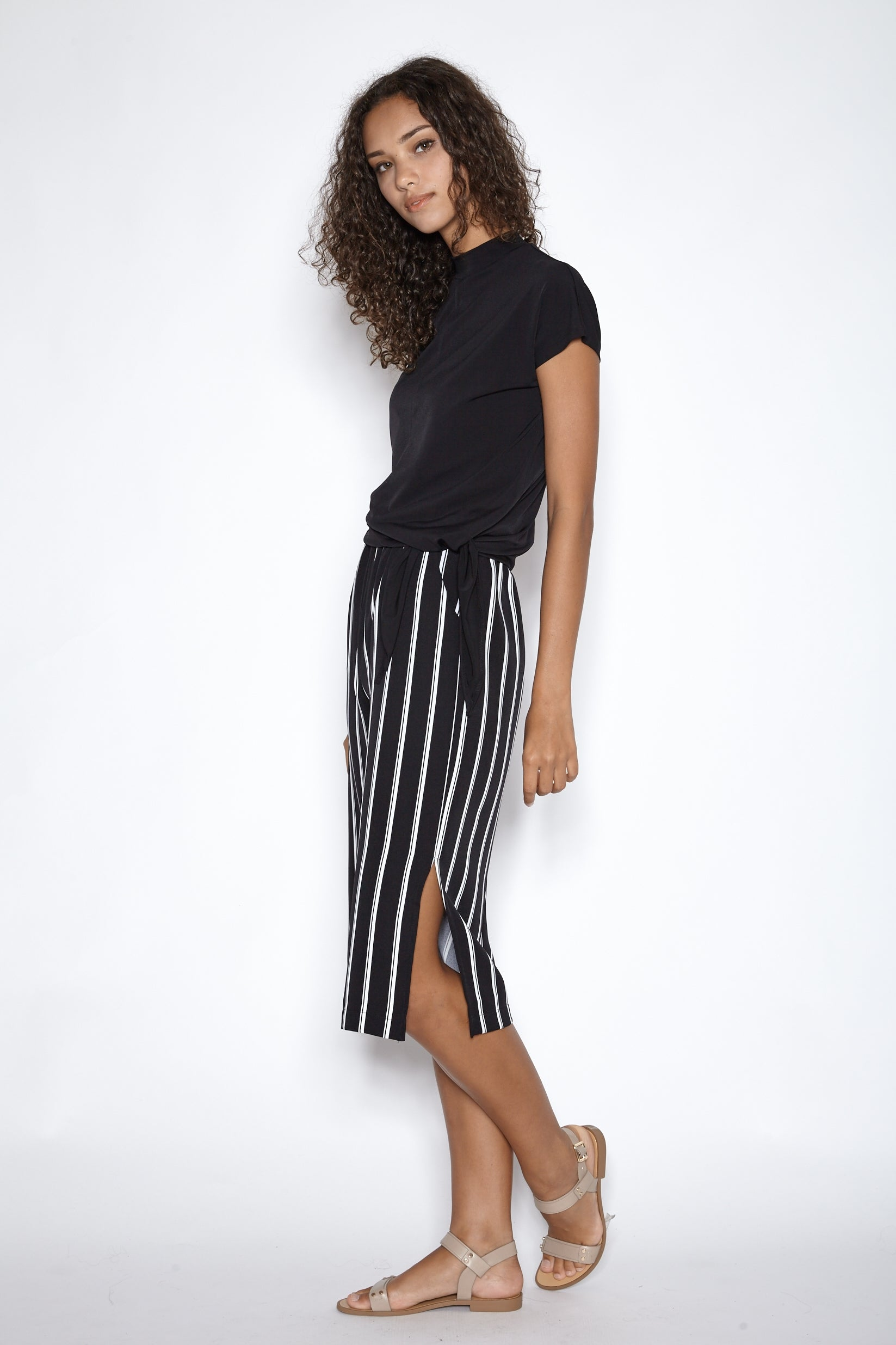Asymmetrical Jersey Top In Black