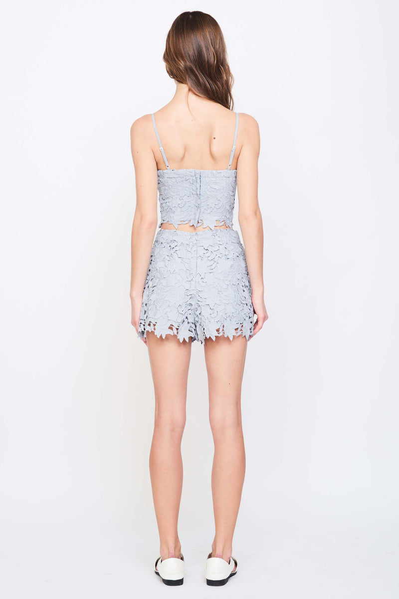 HIGH WAIST LACE SHORTS IN GREY
