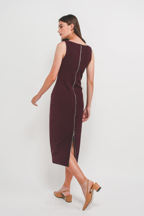 Classic Midi Dress w Exposed Zipper Slit In Plum