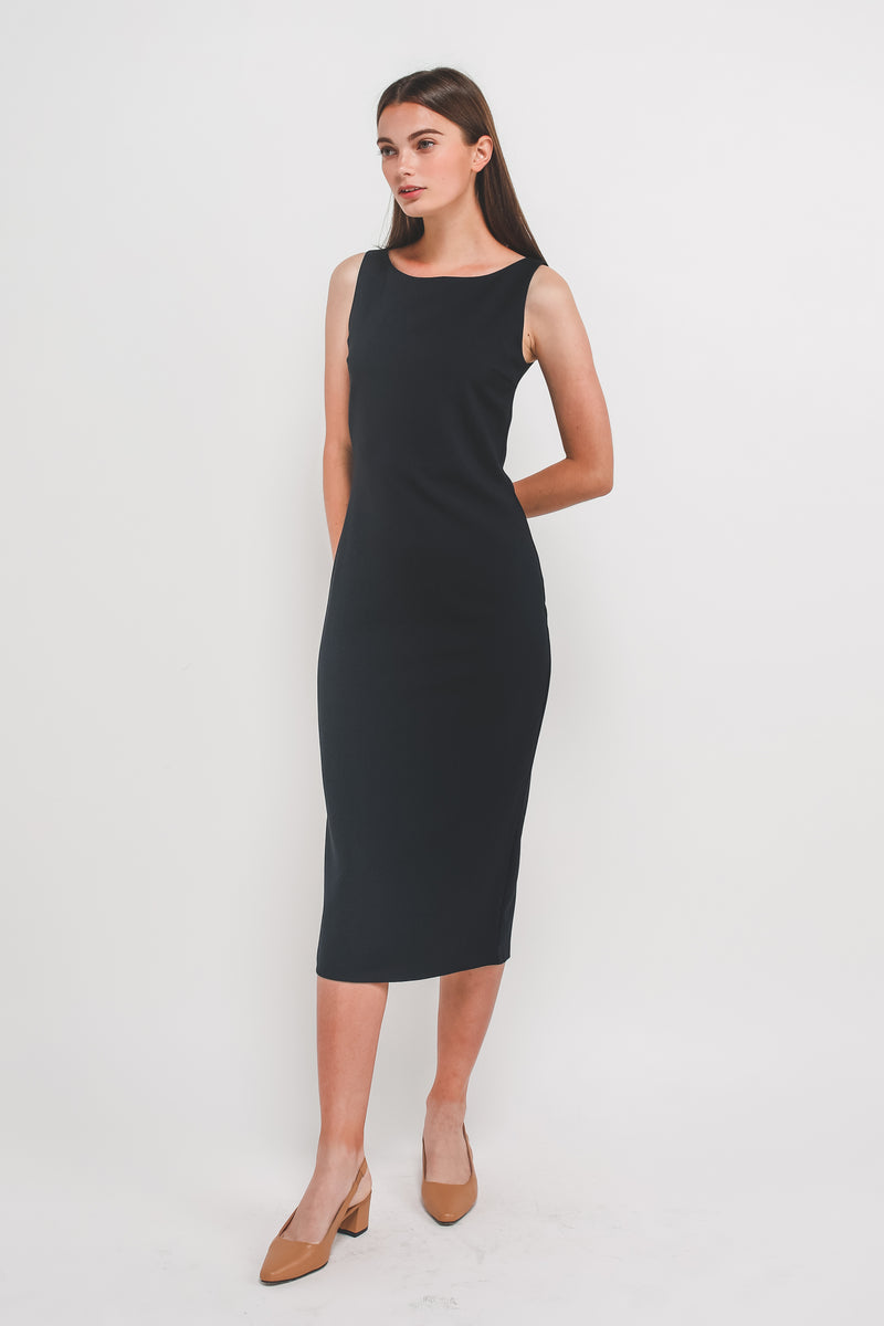 Classic Midi Dress w Exposed Zipper Slit In Navy
