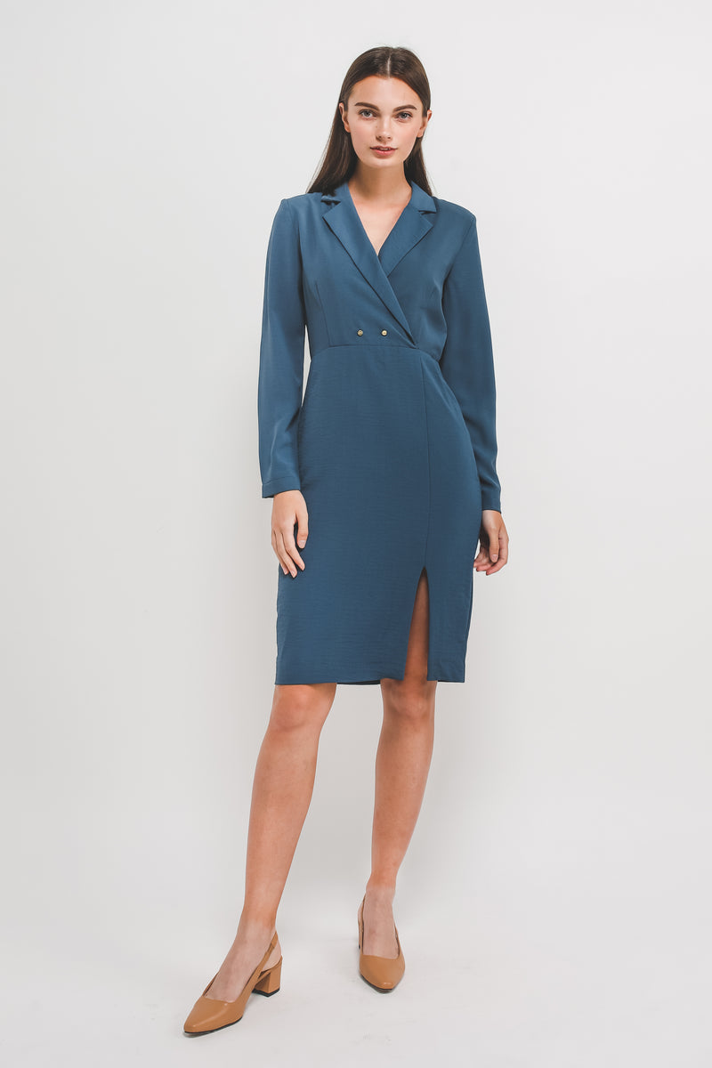 Blazer Dress w Front Slit In Blue